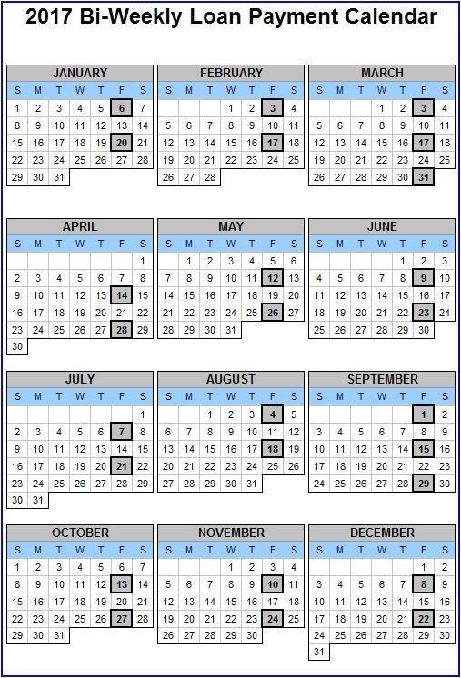 bi weekly pay calendar