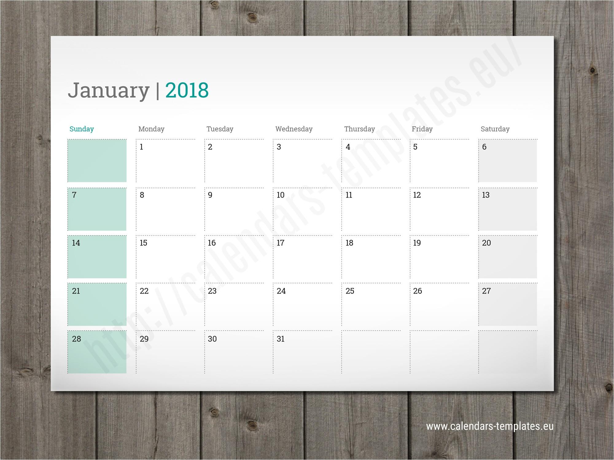 kalender 2018 template indesign
