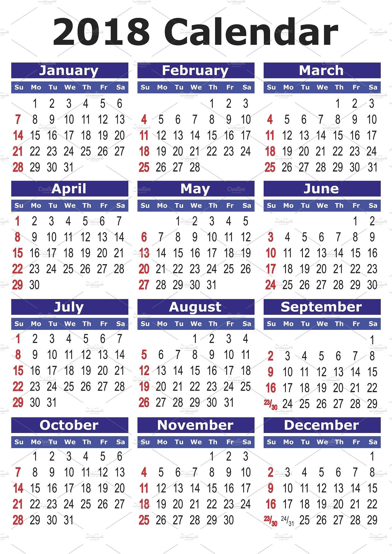1257931 2018 calendar in english
