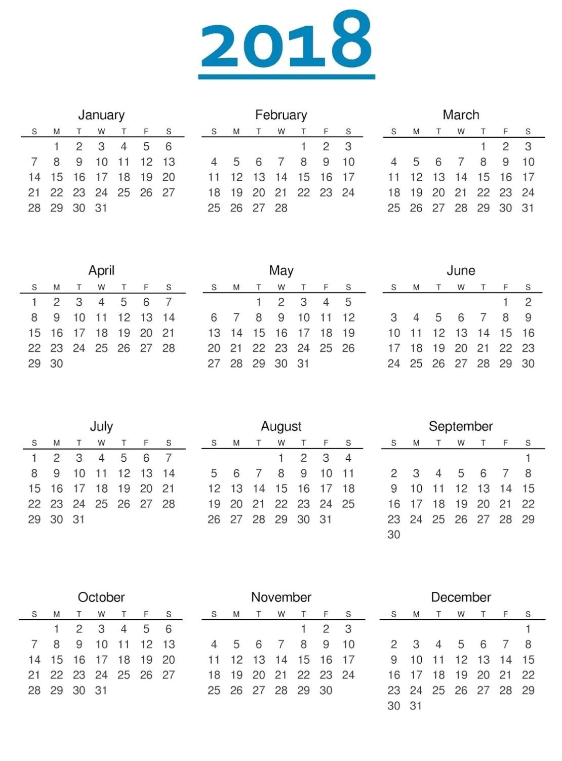 2018 yearly monthly calendar printable