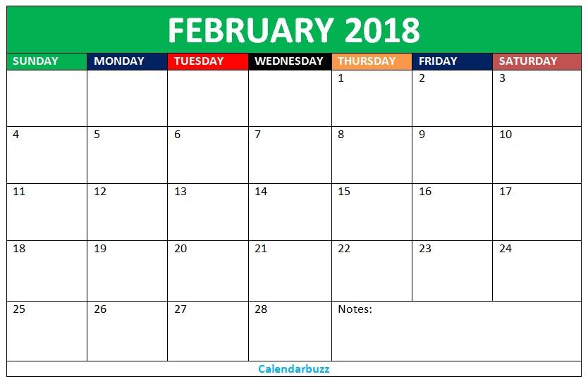 2018 Cd Calendar Template Blank Feb 2018 Calendar Download 2018 Blank Calendars