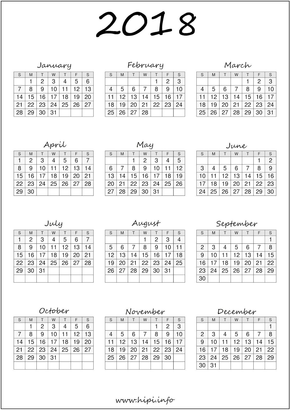 printable calendar 2018 a4