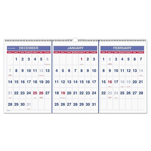 3 Month at A Glance Calendar Template at A Glance Horizontal format Three Month Reference Wall
