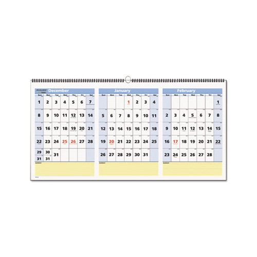 3 Month at A Glance Calendar Template at A Glance Quicknotes Three Month Wall Calendar