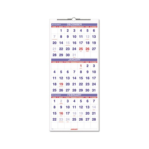 3 Month at A Glance Calendar Template at A Glance Vertical format Three Month Reference Wall