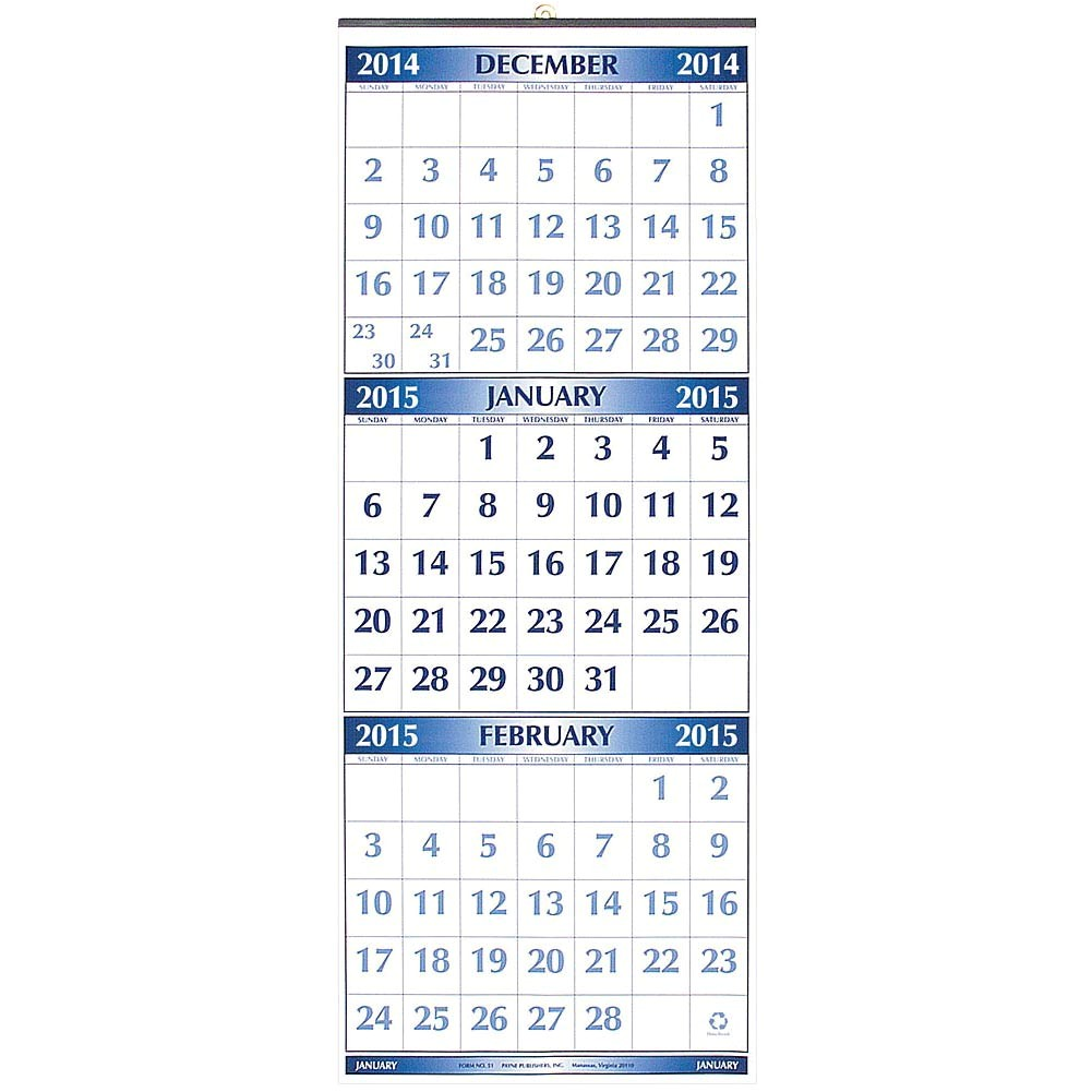 3 Month at A Glance Calendar Template Three Month at A Time 2015 Wall Calendar 033072050956