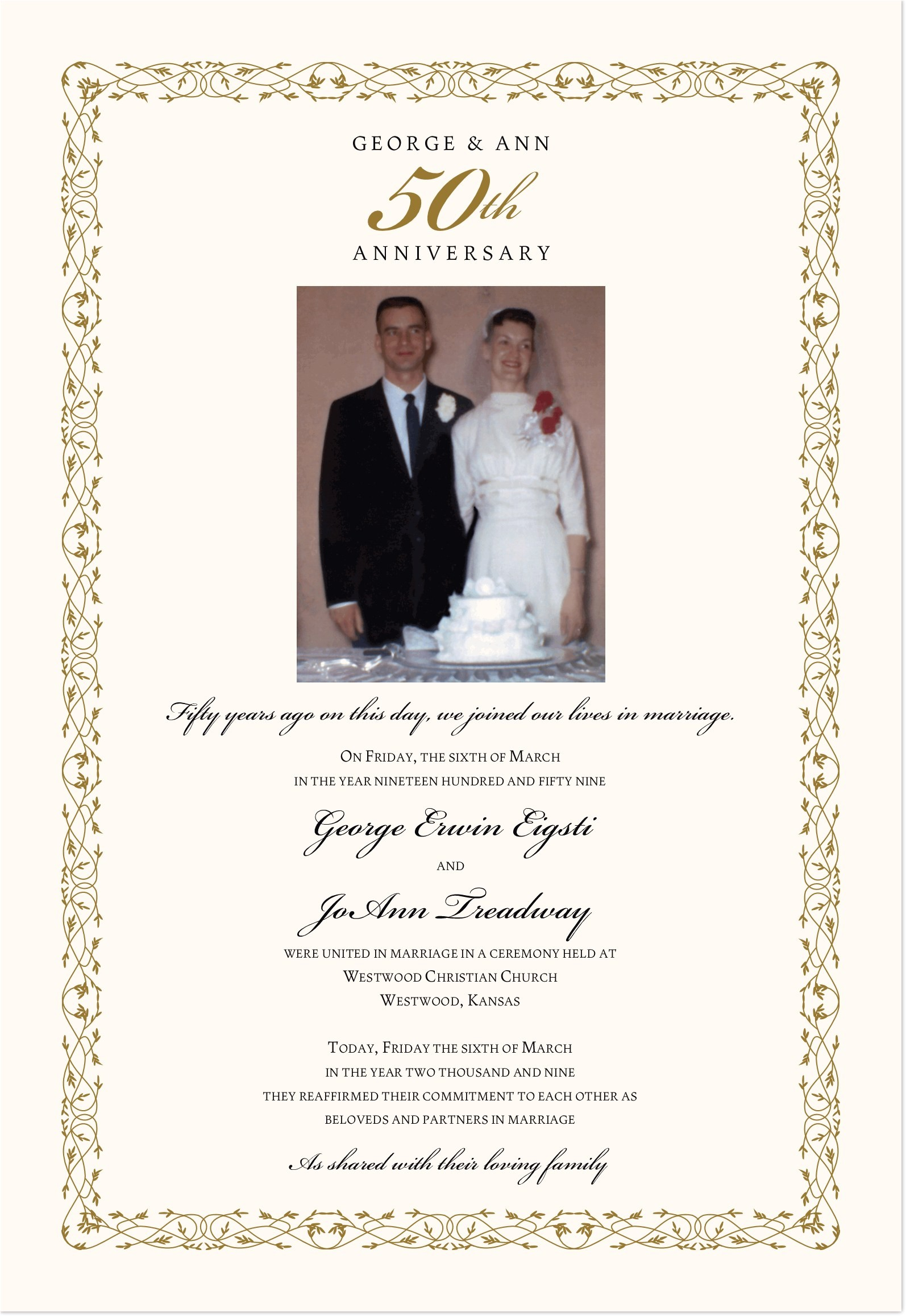 50th Wedding Anniversary Certificate Template 50th Wedding Anniversary Certificate Renewal Of Vows