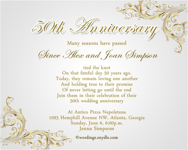 50th wedding anniversary invitation templates