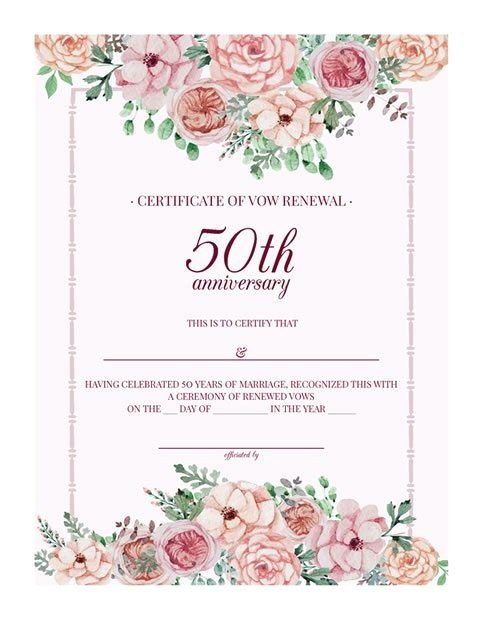 vintage floral 50th anniversary vow renewal certificate