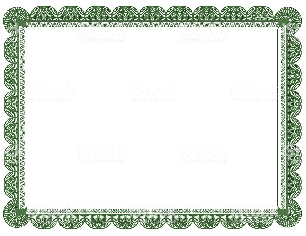 8.5 X 11 Certificate Template Green Document or Certificate Frame 85 X 11 Stock Photo