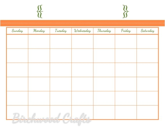 printable monthly calendar template for