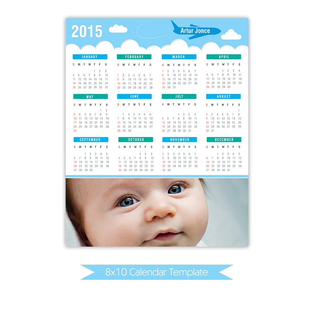 instant download 8x10 calendar template 2015 di 0033