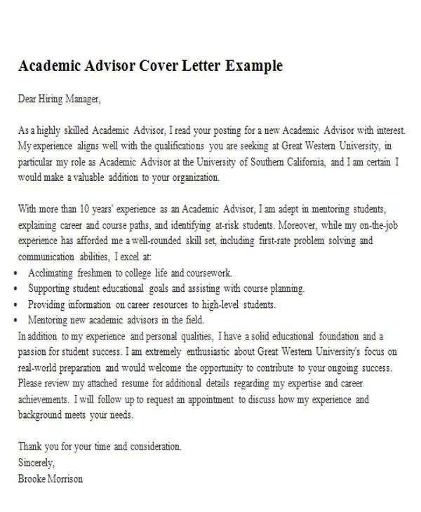 sample academic advisor cover letter