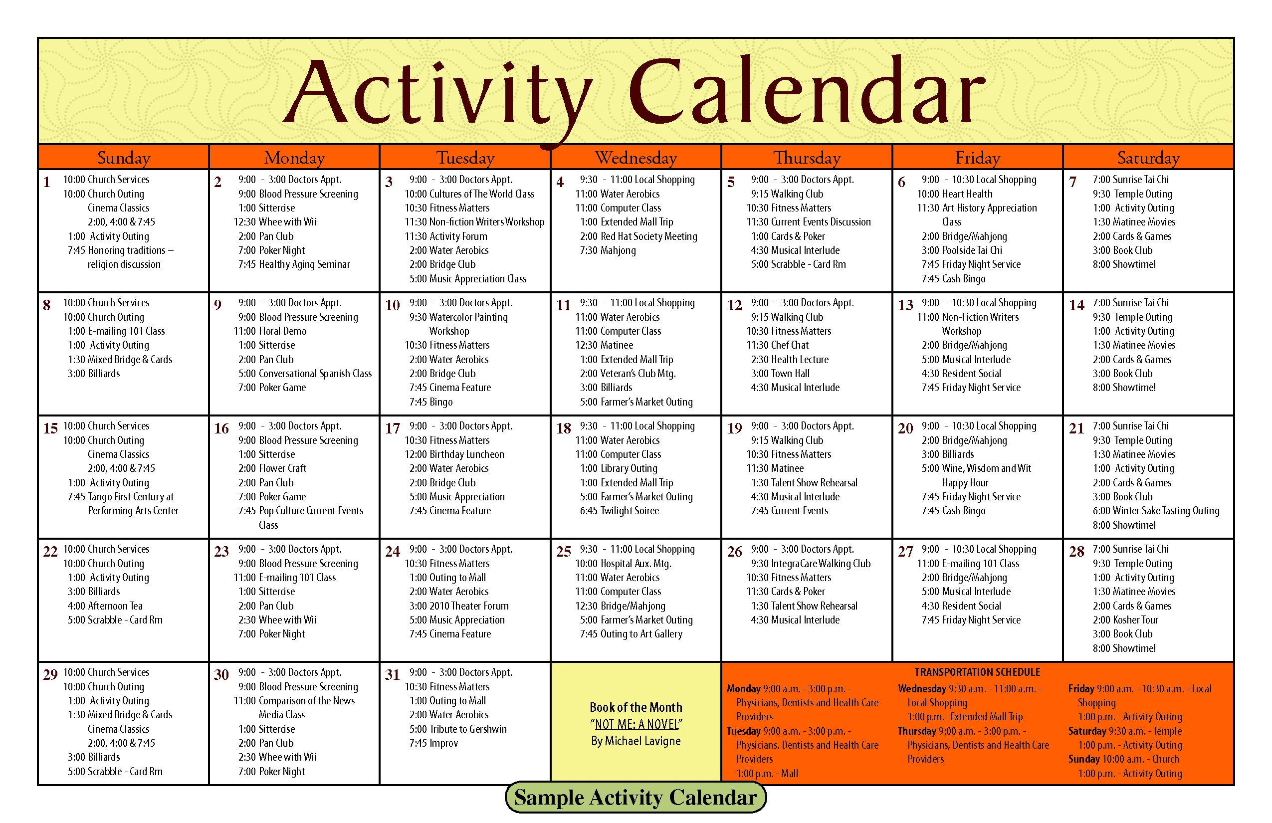 Activity Calendar Template for Seniors 14 Blank Activity Calendar Template Images Printable