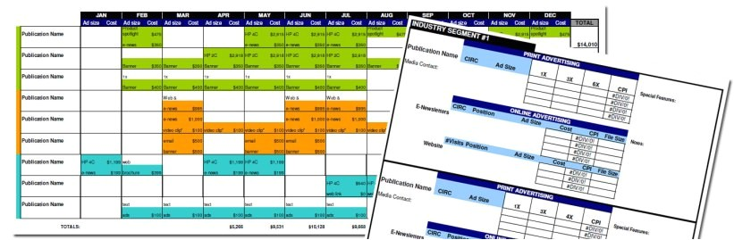 advertising media plan template for cost analysis and annual calendar