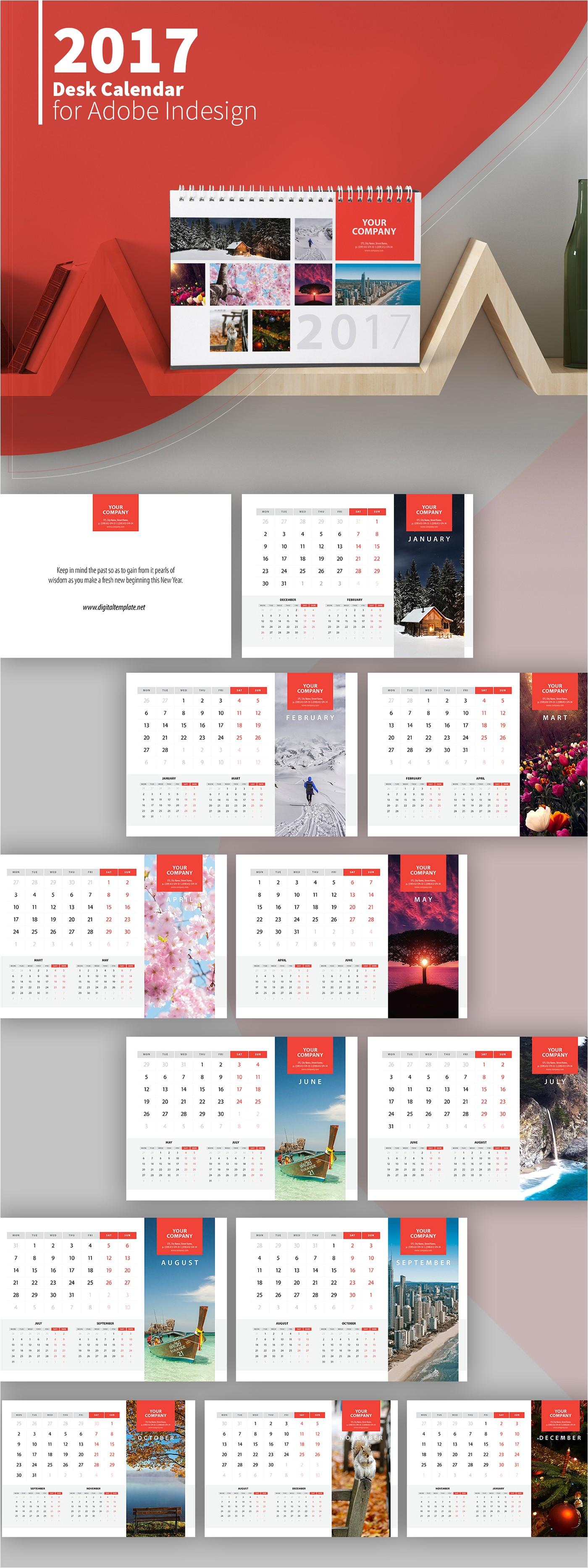 Adobe Photoshop Calendar Template Freebie 2017 Desk Calendar Template On Behance