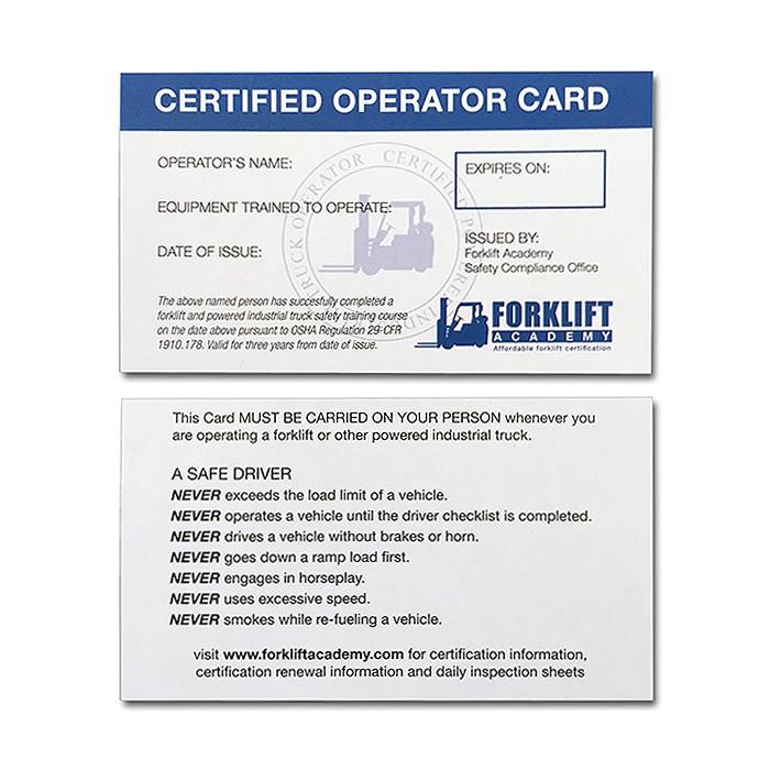 fork lift certification card template
