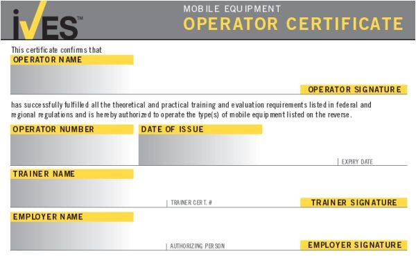 Aerial Lift Certification Card Template forklift License Template Wallet Size Nextinvitation