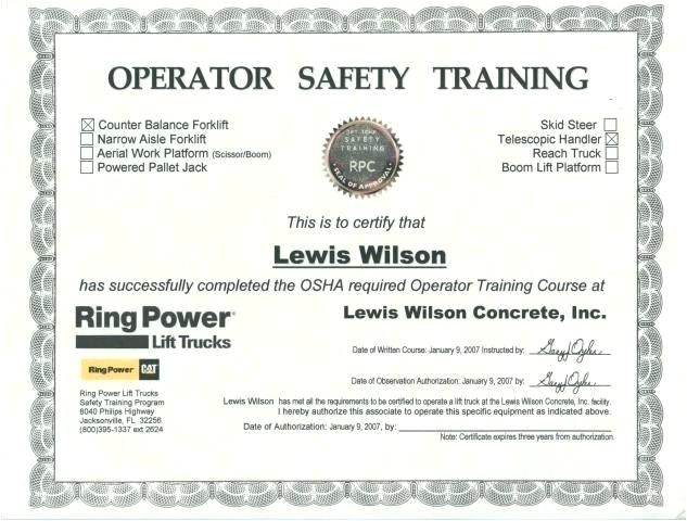 lift certification