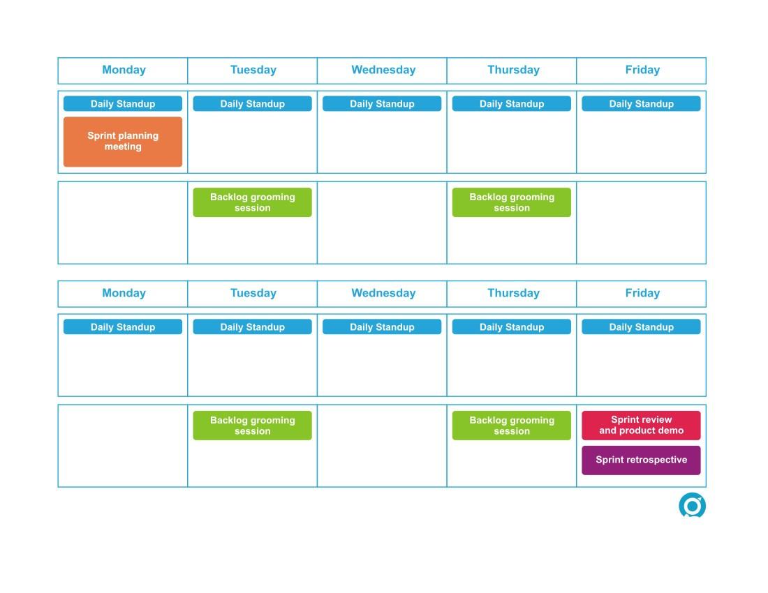 Agile Sprint Calendar Template Bi Weekly Sprint Scrum Calendar Greg Patricio