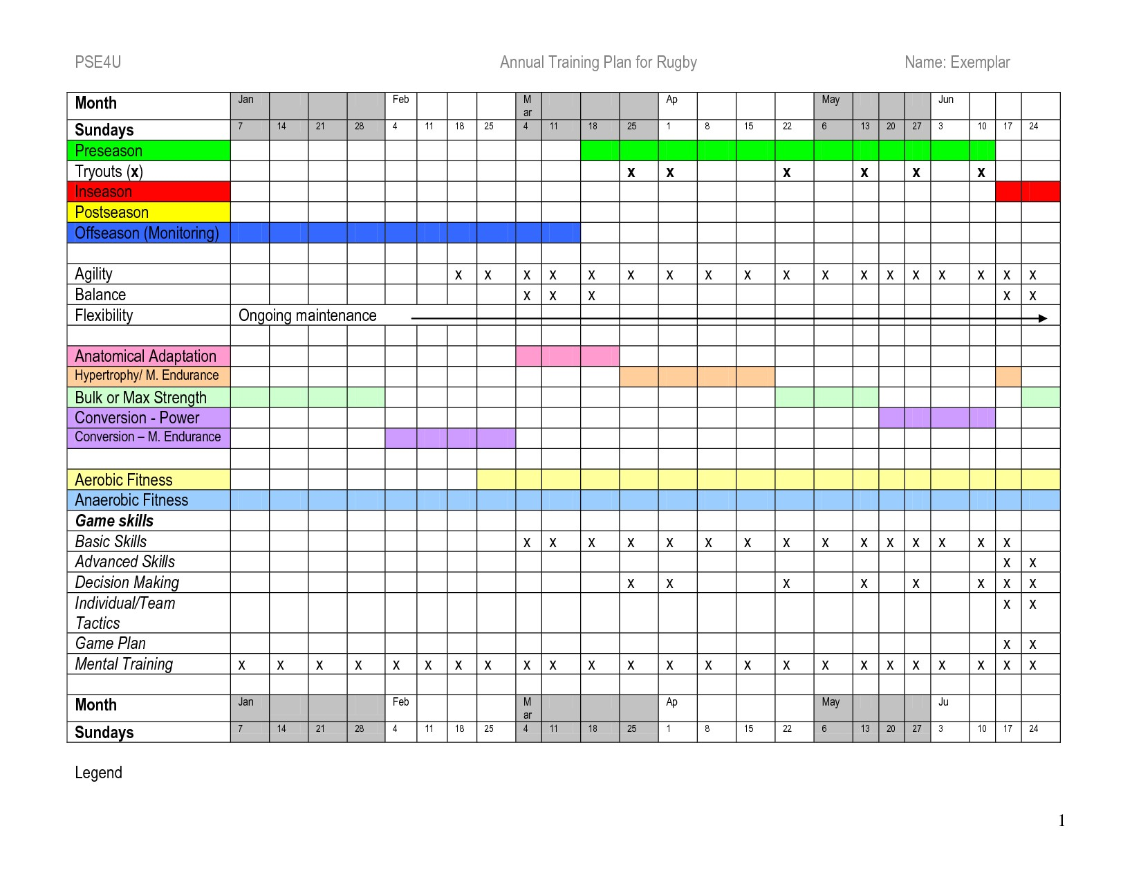 training schedule template excel 643