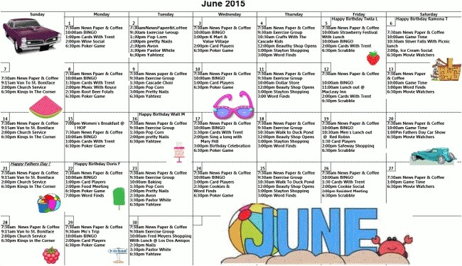 Assisted Living Activity Calendar Template Activity Calendar for assisted Living Printable Calendar