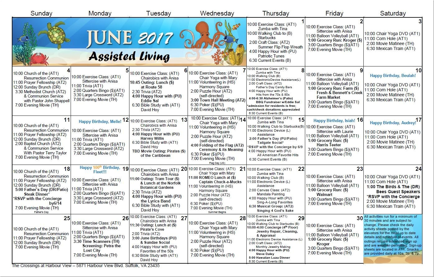 Assisted Living Activity Calendar Template Activity Calendars Suffolk the Crossings at Harbour View