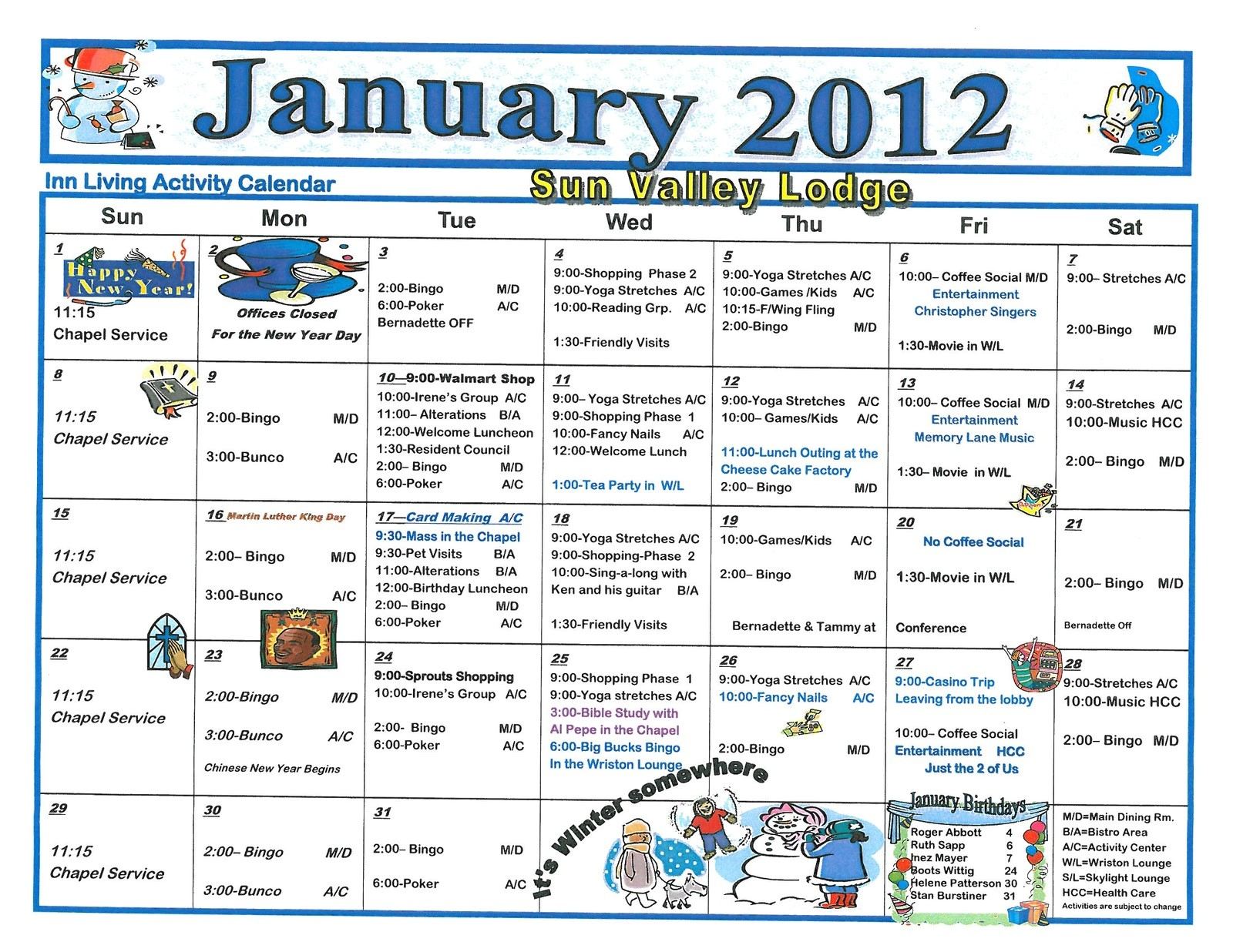 january 2012 assisted living activity