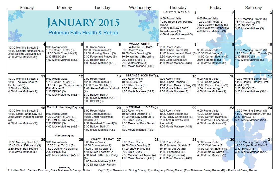 Assisted Living Activity Calendar Template March 2015 Senior Activity Calendar Fun Easy Senior