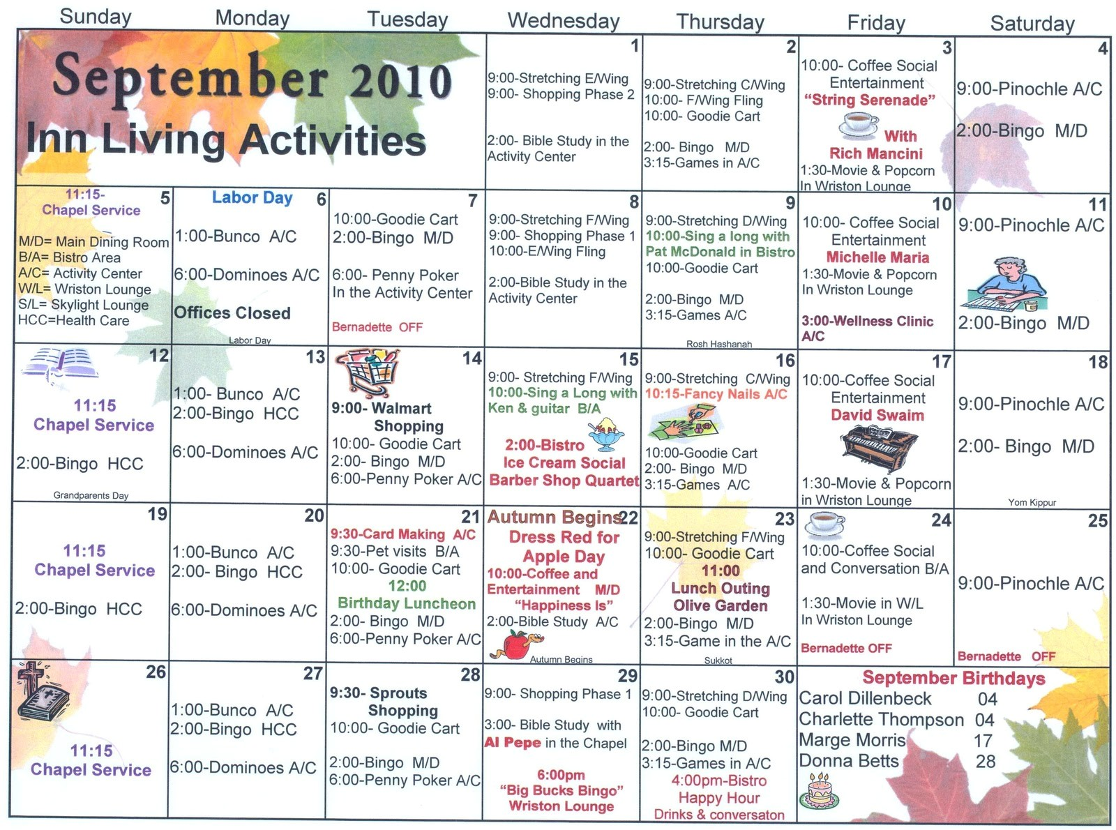 september assisted living activities