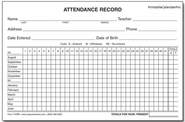 Attendance Calendar Template 25 Best Ideas About attendance Sheet Template On