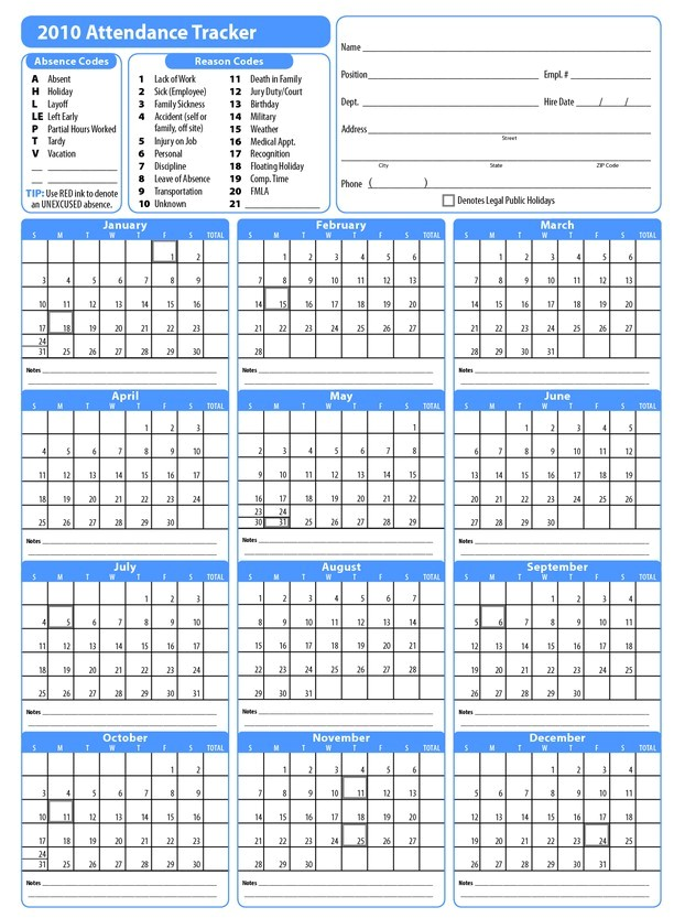 calendar for attendance tracking 2