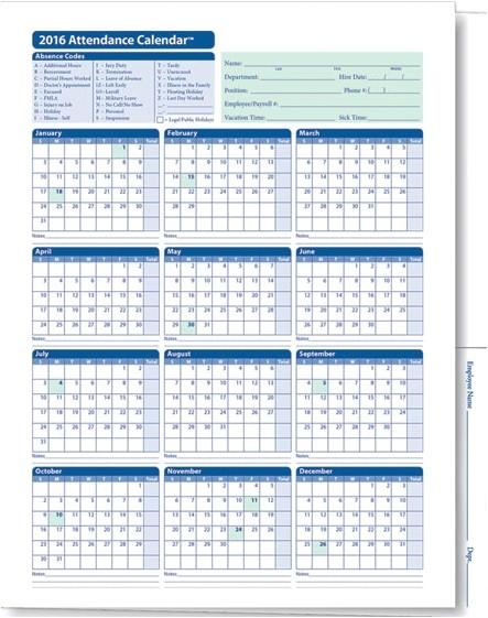 Attendance Calendar Template Employee attendance Calendar Tracker Templates 2016