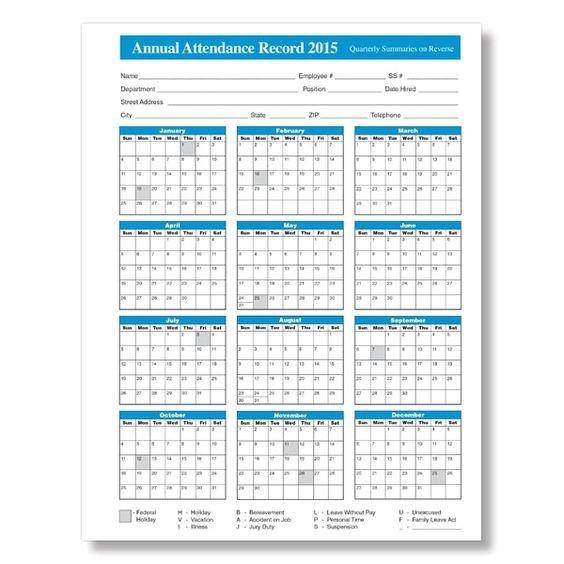 free printable attendance calendars