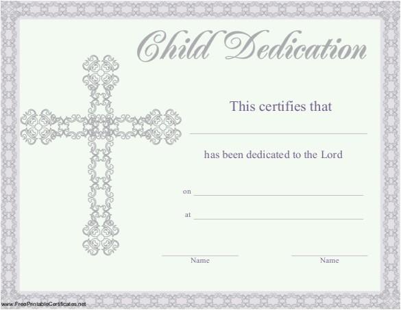 baby dedication certificate template
