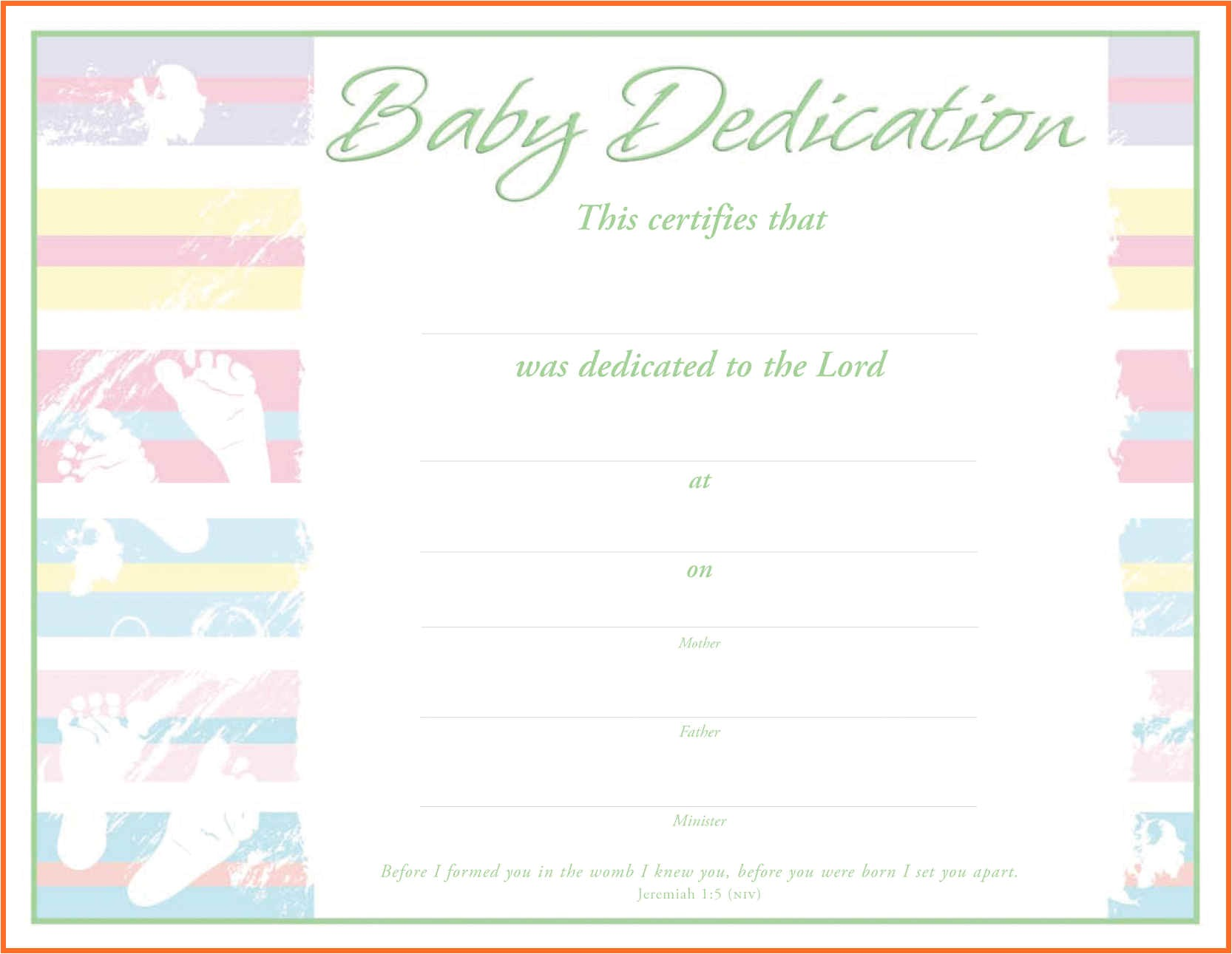 Baby Dedication Certificate Template Baby Dedication Certificate 6126031148 Professional and