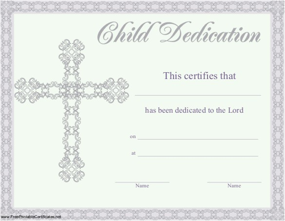 baby dedication certificate template