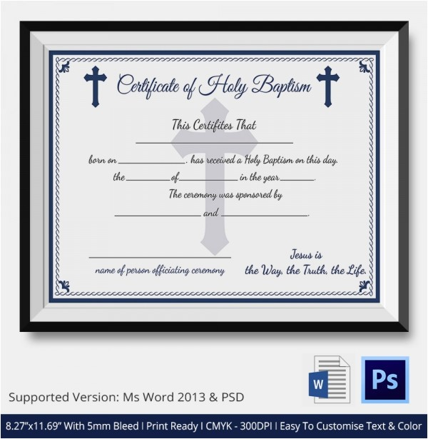 Baptism Sponsor Certificate Template Baptism Certificate 11 Free Word Pdf Documents
