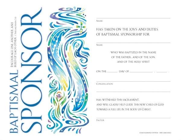 community baptismal sponsorship certificate quantity per package 12
