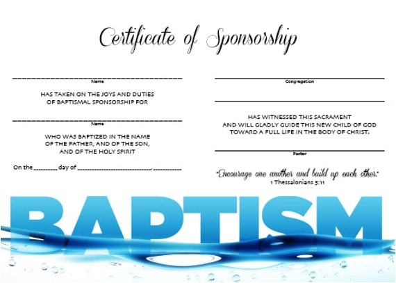 certificate of baptism sponsorship