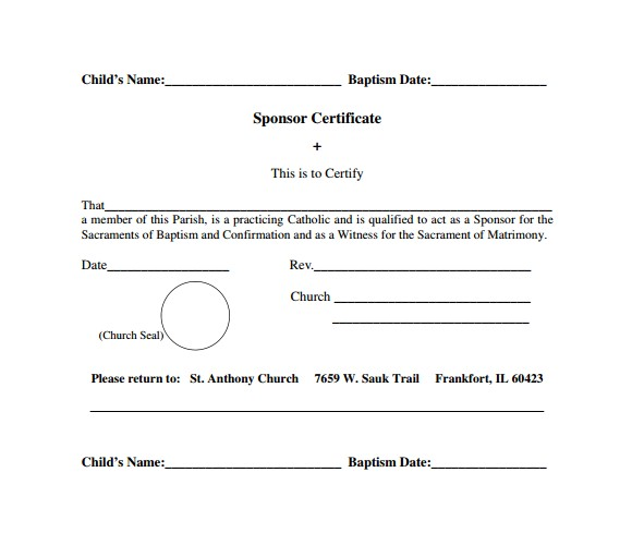 Baptism Sponsor Certificate Template Sample Baptism Certificate 22 Documents In Pdf Word Psd