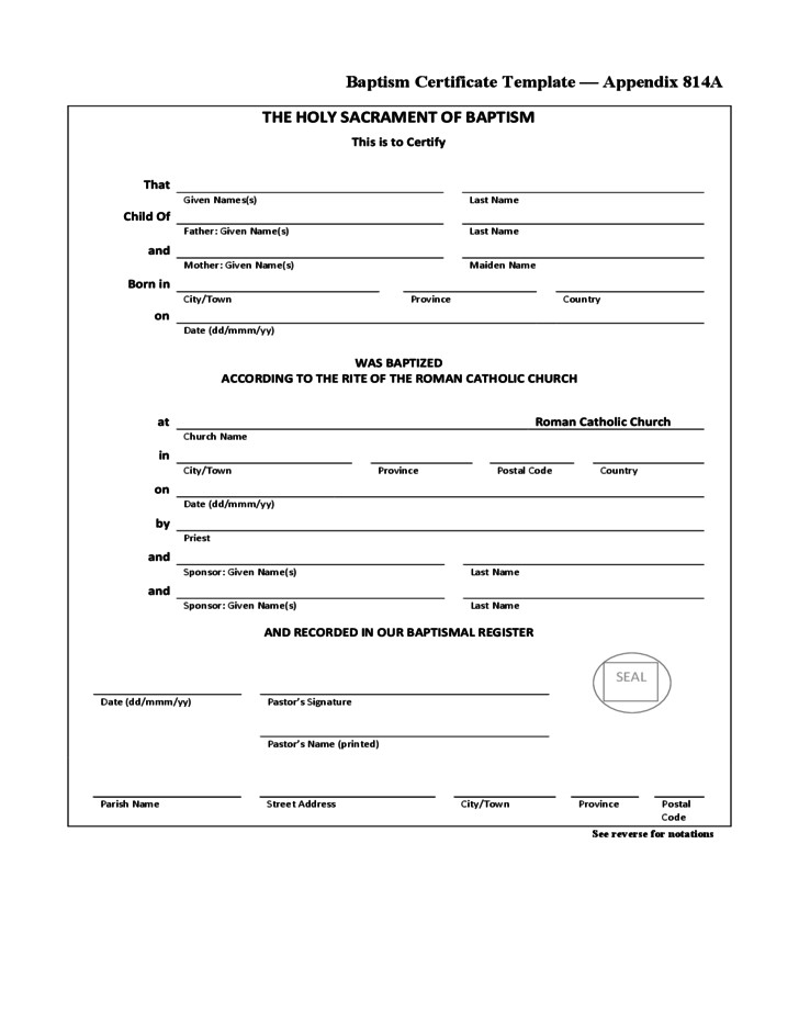 free simple baptism certificate template