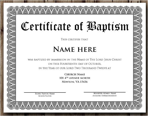 sample baptism certificate template