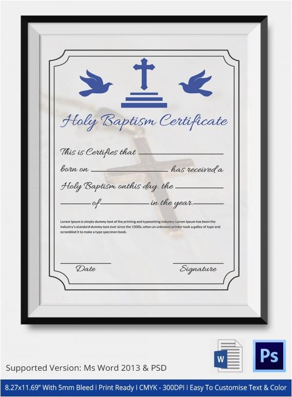 sample baptism certificate