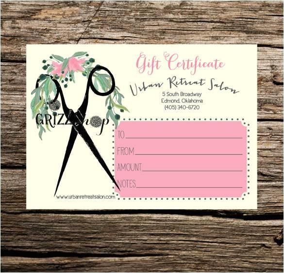 Beauty Salon Gift Certificate Template Free Gift Certificate Template 42 Examples In Pdf Word In