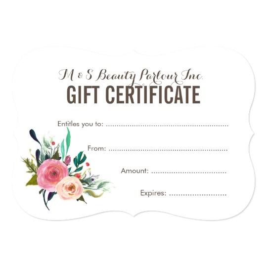 Beauty Salon Gift Certificate Template Free Painted Floral Salon Gift Certificate Template Zazzle Com