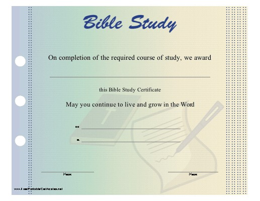 Bible Study Certificate Templates Free Bible Certificate Programs Online