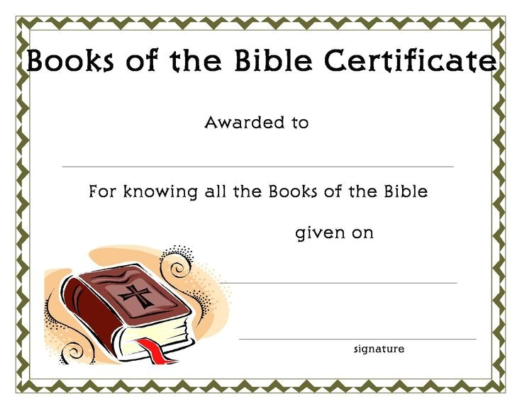 Bible Study Certificate Templates Www Certificatetemplate org Books Of the Bible Certificate