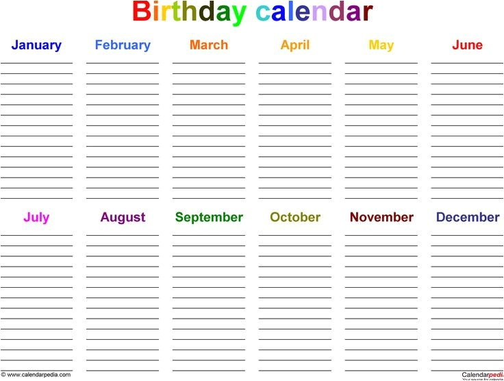 Birthday and Anniversary Calendar Template Excel Template for Birthday Calendar In Color Landscape