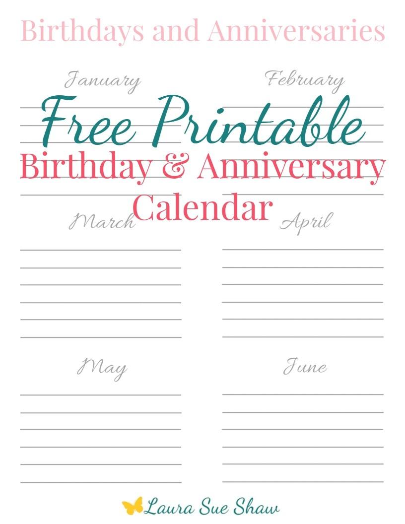 free printable birthday anniversary calendar